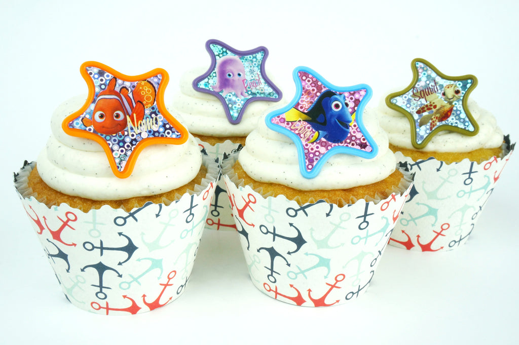 Simply Wrappers - Finding Nemo Colorful Starfish and Anchor cupcake toppers/wrappers COMBO - Set of 24 items