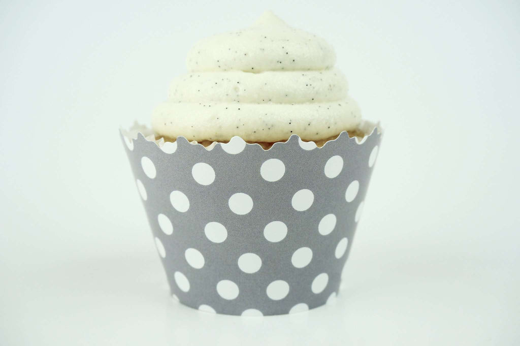 Silver Gray Polka Dots Cupcake Wrapper, Adjustable, Adjustable - Set of 12