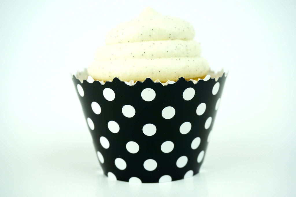 Black Polka Dots Cupcake Wrapper, Adjustable, Adjustable - Set of 12