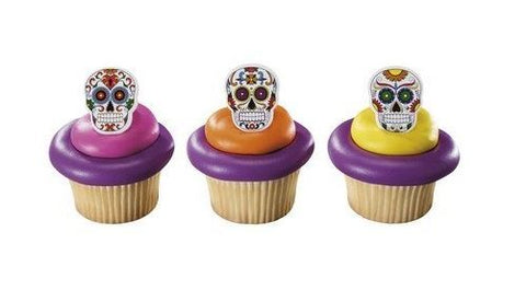 Day of the Dead - Dia de los Muertos Skeleton Cupcake Rings/Toppers - Set of 12 Disney & Pixar Coco