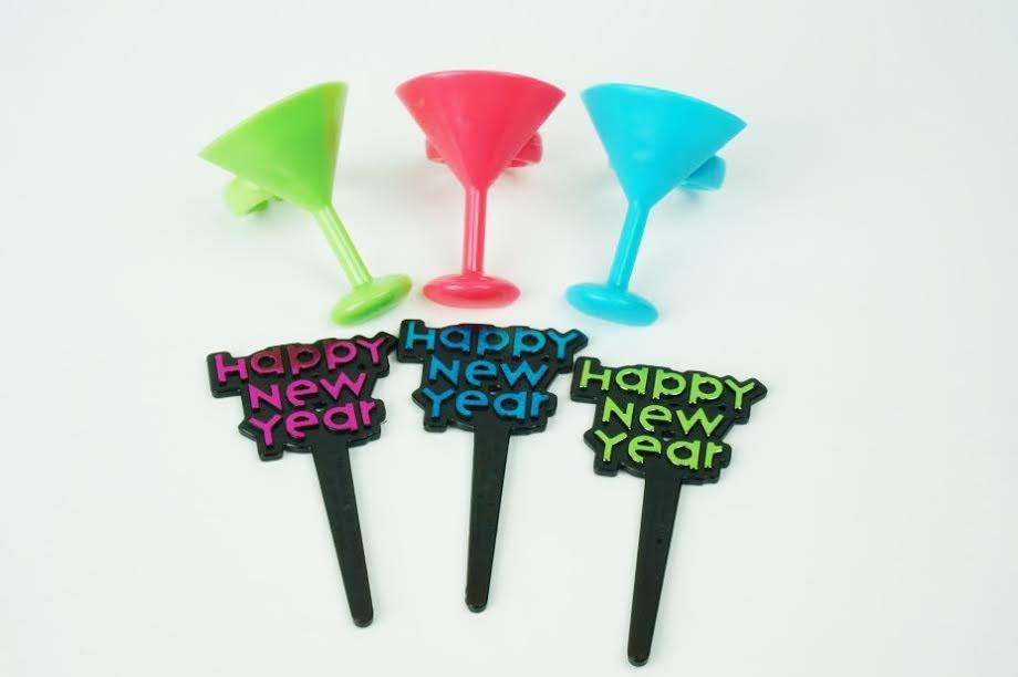 Happy New Year Cocktail glasses cupcake toppers - Set of 12 - SW521