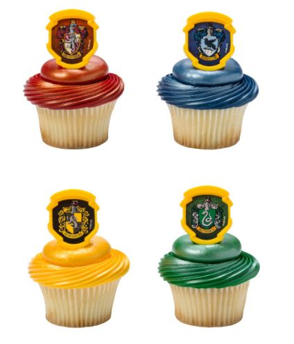 Harry Potter Hogwarts Rings/Toppers - Set of 12