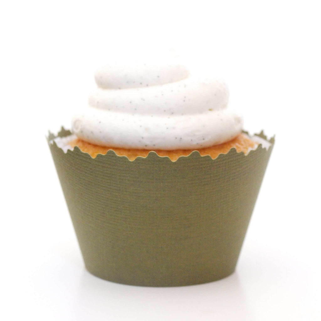 Simply Wrappers - Olive Green Solid Color Textured Cupcake Wrapper