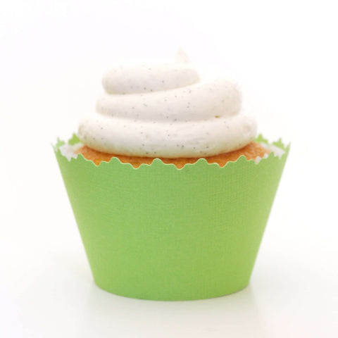Kiwi Green Solid Color Textured Cupcake Wrapper, Adjustable, Adjustable - Set of 12