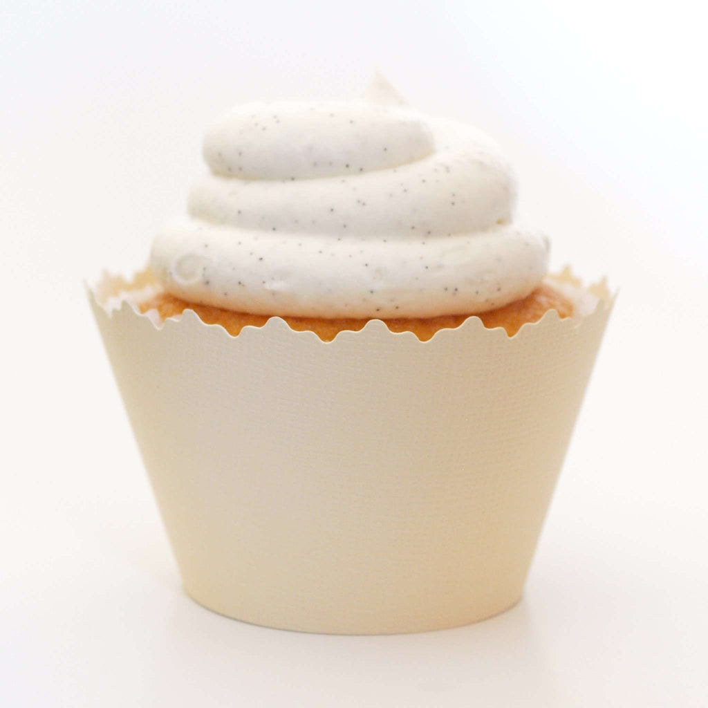 Simply Wrappers - Vanilla Ivory Cream Solid Color Textured ADJUSTABLE Cupcake Wrapper