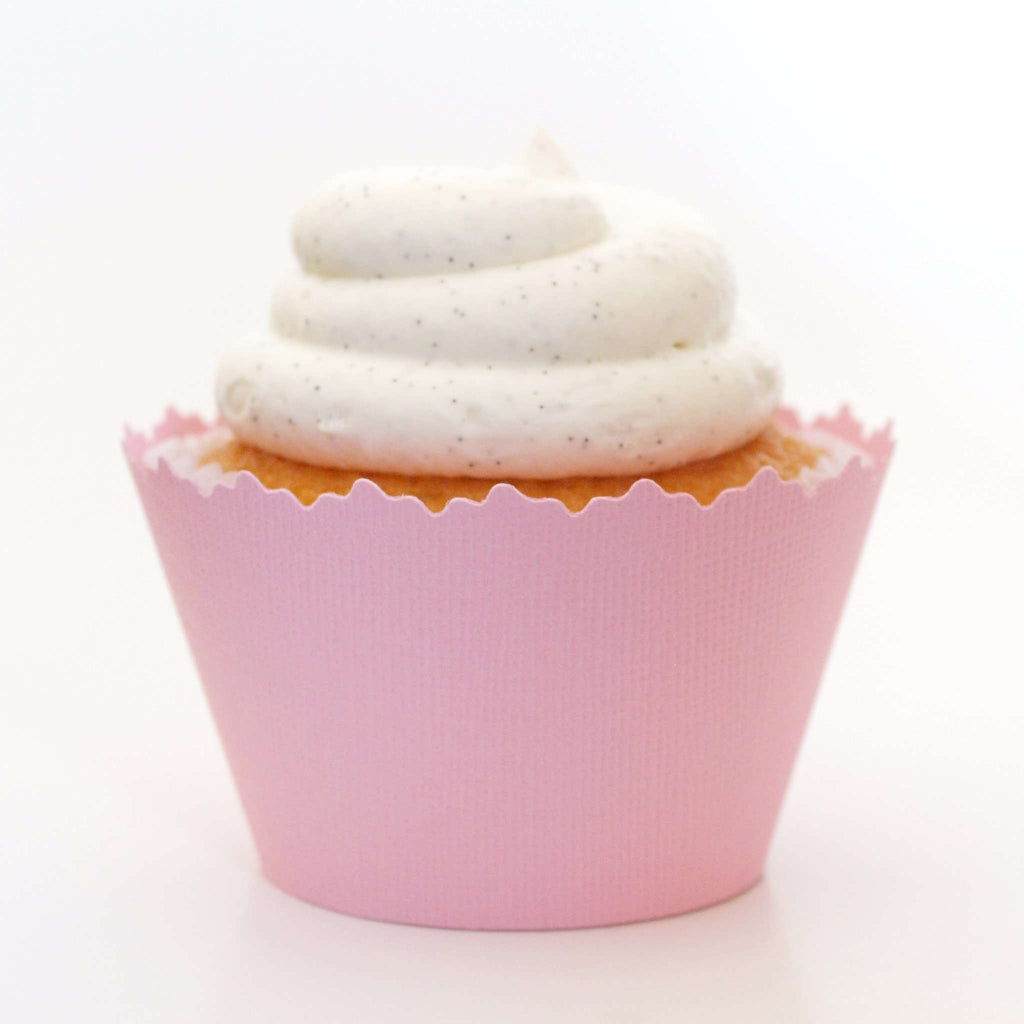 Simply Wrappers - Light Powder Pink Solid Color Textured ADJUSTABLE Cupcake Wrapper