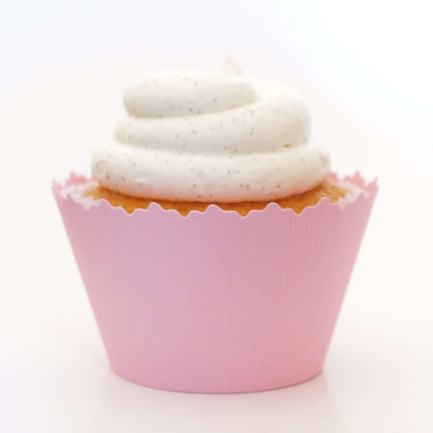 Light Powder Pink Solid Color Textured Cupcake Wrapper, Adjustable, Adjustable - Set of 12