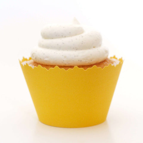 Dandelion Yellow Solid Color Textured Cupcake Wrapper, Adjustable, Adjustable - Set of 12