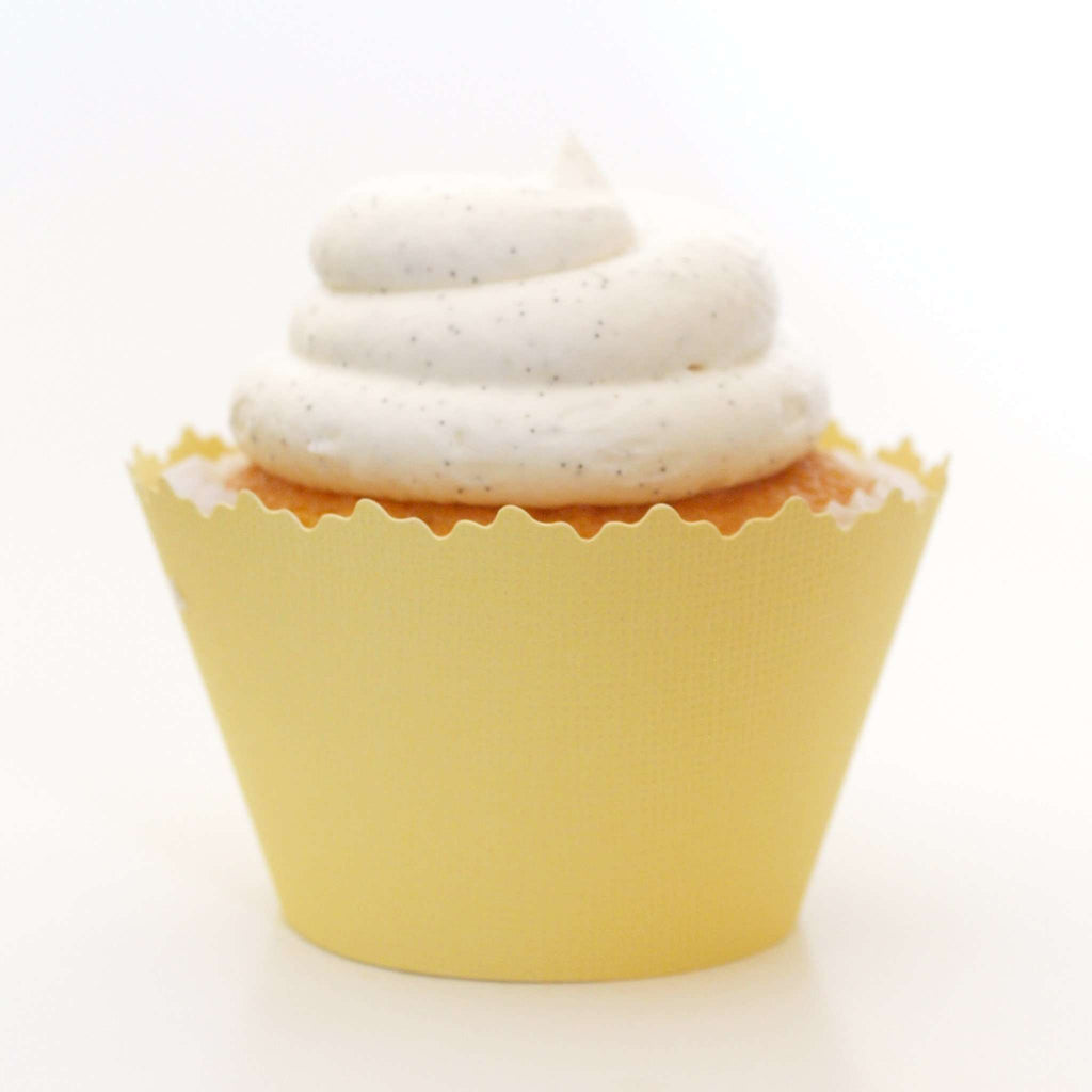 Simply Wrappers - Light Yellow Solid Color Textured ADJUSTABLE Cupcake Wrapper