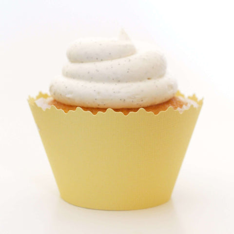 Banana Cream Yellow Solid Color Textured Cupcake Wrapper, Adjustable, Adjustable - Set of 12