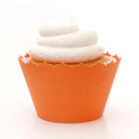 Mandarin Orange Solid Color Textured Cupcake Wrapper, Adjustable, Adjustable - Set of 12