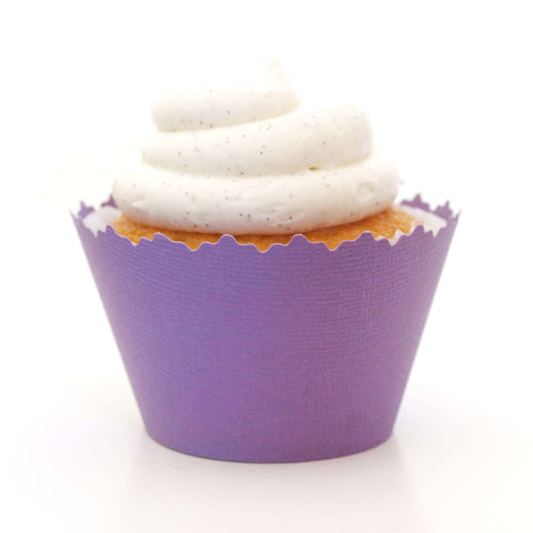 Pansy Purple Solid Color Textured Cupcake Wrapper, Adjustable, Adjustable - Set of 12