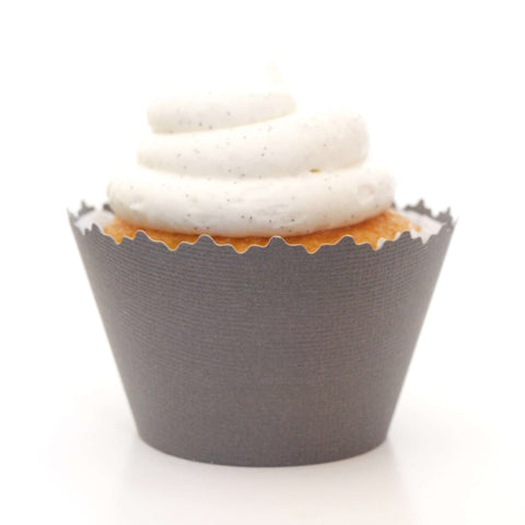 Charcoal Dark Gray Solid Color Textured Cupcake Wrapper, Adjustable, Adjustable - Set of 12
