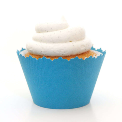 Aqua Atoll Blue Solid Color Textured Cupcake Wrapper, Adjustable, Adjustable - Set of 12