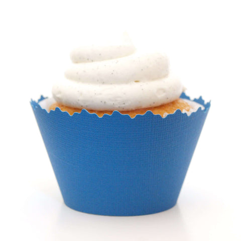 Deep Lake Blue Solid Color Textured Cupcake Wrapper, Adjustable, Adjustable - Set of 12