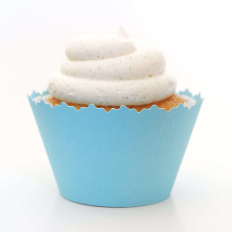 Bluebell Blue Solid Color Textured Cupcake Wrapper, Adjustable, Adjustable - Set of 12