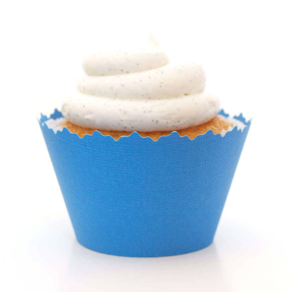 Simply Wrappers - Jaybird Blue Solid Color Textured Cupcake Wrapper