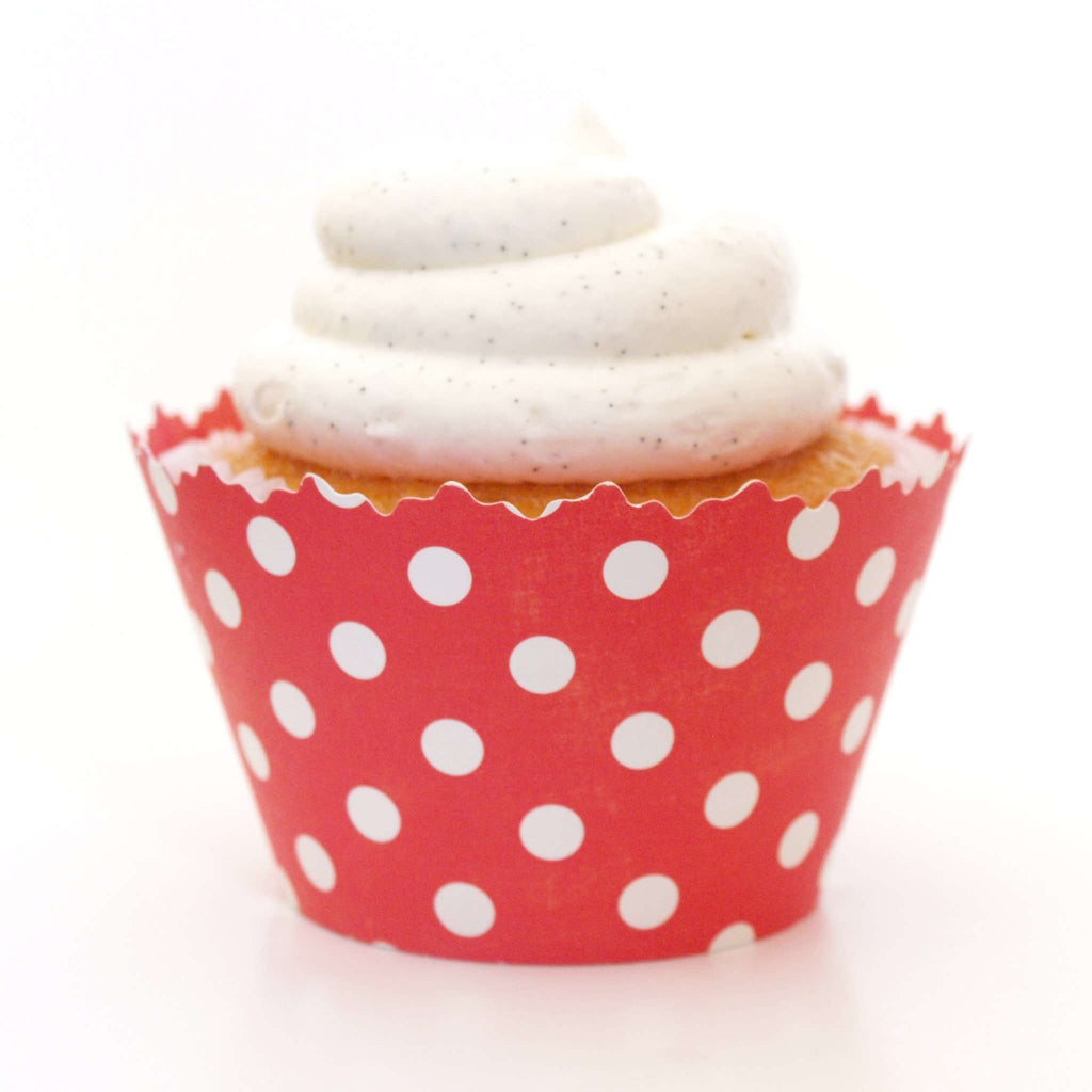 Simply Wrappers - Ruby Red Polka Dots Cupcake Wrapper