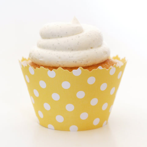 Yellow Polka Dots Cupcake Wrapper, Adjustable, Adjustable - Set of 12