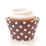 Chocolate Brown Polka Dots Cupcake Wrapper, Adjustable, Adjustable - Set of 12