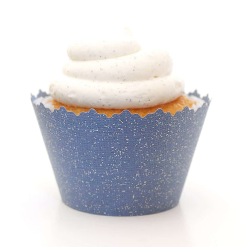 Glitter Nighttime Navy Blue Sparkly Cupcake Wrapper, Adjustable, Adjustable - Set of 12