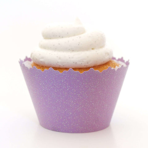 Glitter Purple Cupcake Wrapper, Adjustable, Adjustable - Set of 12