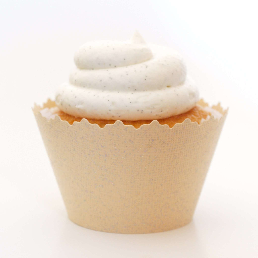 Simply Wrappers - Glitter Creamy Ivory Pearl Sparkly Cupcake Wrapper