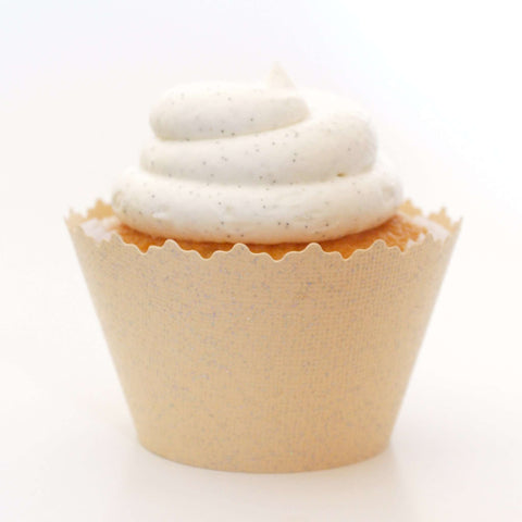 Glitter Creamy Ivory Pearl Sparkly Cupcake Wrapper, Adjustable, Adjustable - Set of 12