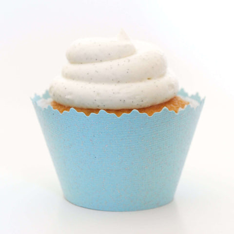 Glitter Powder Blue  Cupcake Wrapper, Adjustable, Adjustable - Set of 12