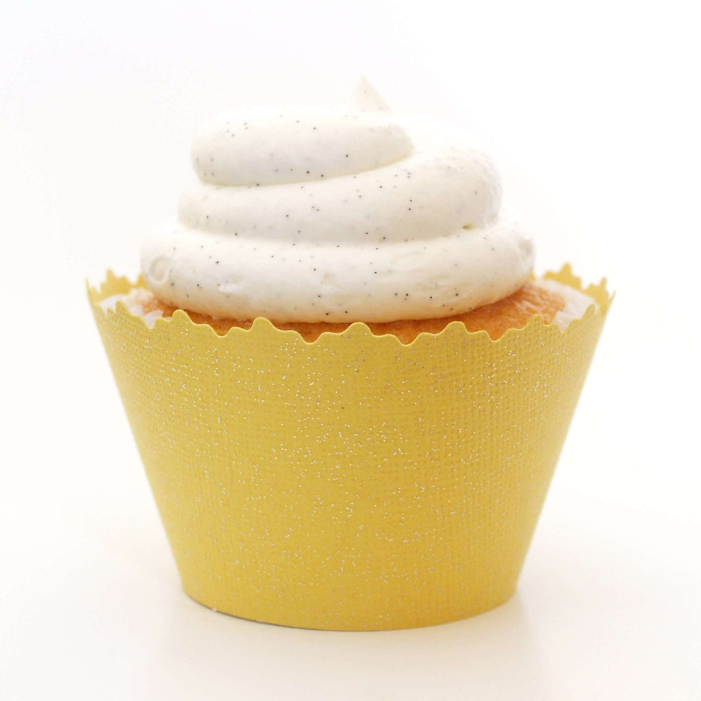 Simply Wrappers - Glitter Yellow Sunshine Sparkly Cupcake Wrapper