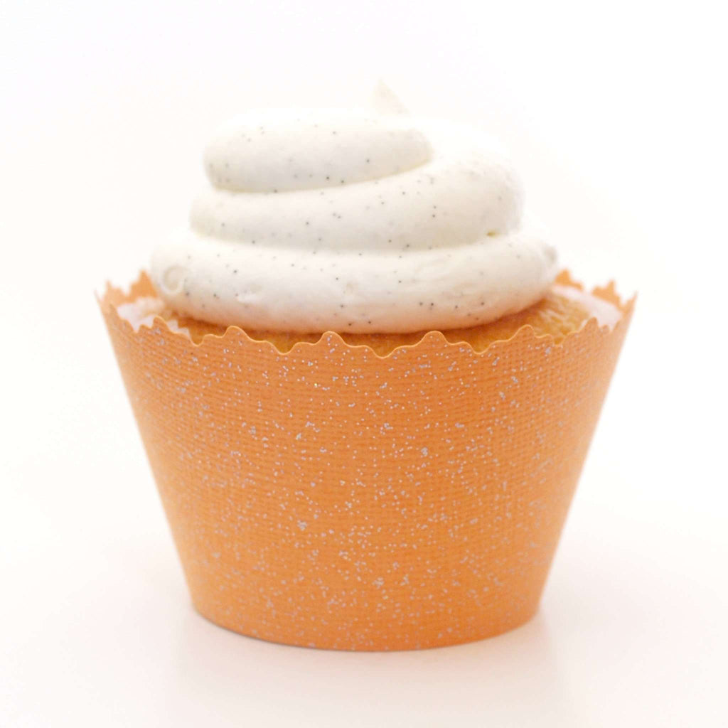 Simply Wrappers - Glitter Orange Mango Sparkly Cupcake Wrapper