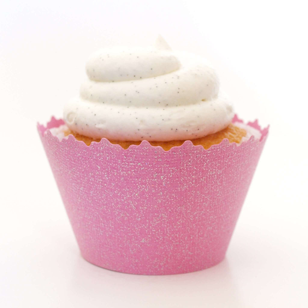 Simply Wrappers - Glitter Bubble Gum Pink Sparkly ADJUSTABLE Cupcake Wrapper