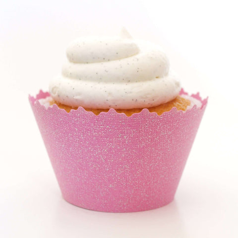 Glitter Bubble Gum Pink Sparkly Cupcake Wrapper, Adjustable, Adjustable - Set of 12