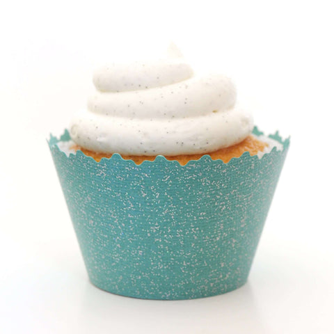 Glitter Deep Teal Sparkly Cupcake Wrapper, Adjustable, Adjustable - Set of 12