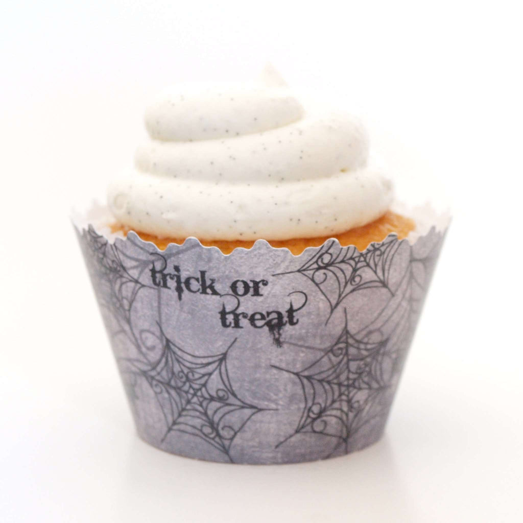 Simply Wrappers - Trick or Treat Spiderweb Black Cupcake Wrapper