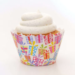 Simply Wrappers - Birthday Party Presents:  Multi-Color Gifts Medley Cupcake Wrapper
