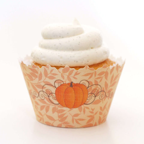 Fall Pumpkin Patch:  Orange Leaf Harvest Cupcake Wrapper, Adjustable, Adjustable - Set of 12