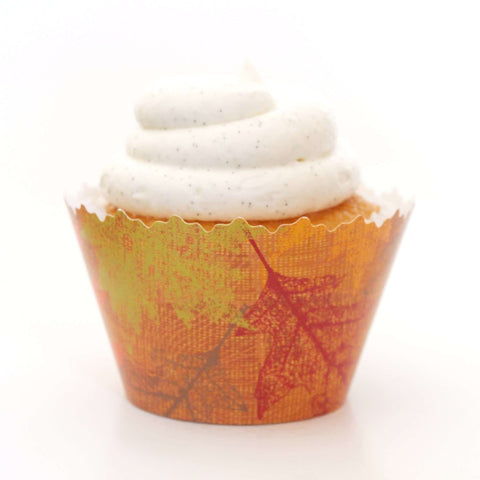 Autumn Leaves:  Red, Brown, Green, Harvest Orange Falling Leaf Cupcake Wrapper, Adjustable, Adjustable - Set of 12
