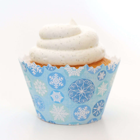 Winter Blue Icicle Snowflake Frozen Cupcake Wrapper, Adjustable, Adjustable - Set of 12