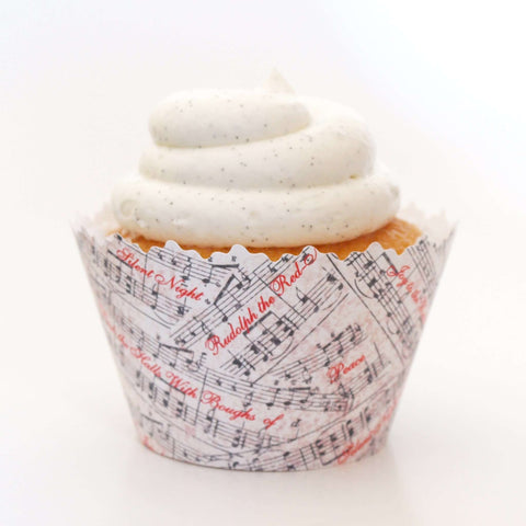 Christmas Hymns Musical Notes: Holiday Music Songs Cupcake Wrapper, Adjustable, Adjustable - Set of 12