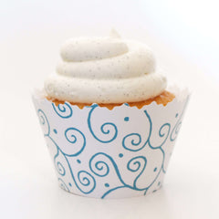Simply Wrappers - Aqua Blue Swirls Cupcake Wrapper