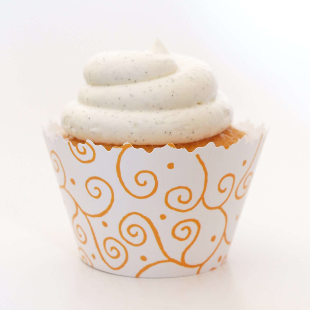 Simply Wrappers - Gold Orange Swirls Cupcake Wrapper