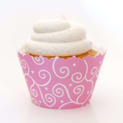 Pastel Pink Swirls Cupcake Wrapper, Adjustable, Adjustable - Set of 12