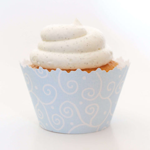 Pastel Blue Swirls Cupcake Wrapper, Adjustable, Adjustable - Set of 12