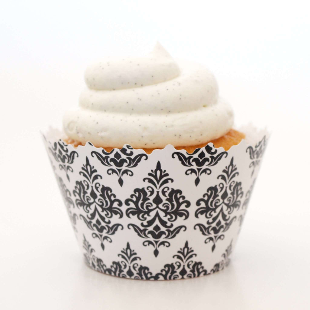Simply Wrappers - Black Damask Traditional Print Cupcake Wrapper
