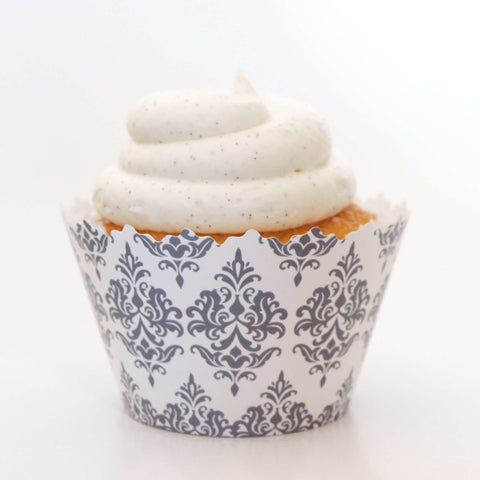 Silver Damask Traditional Print Cupcake Wrapper, Adjustable, Adjustable - Set of 12