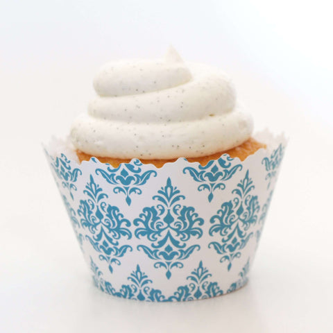 Aqua Blue Damask Traditional Print Cupcake Wrapper, Adjustable, Adjustable - Set of 12