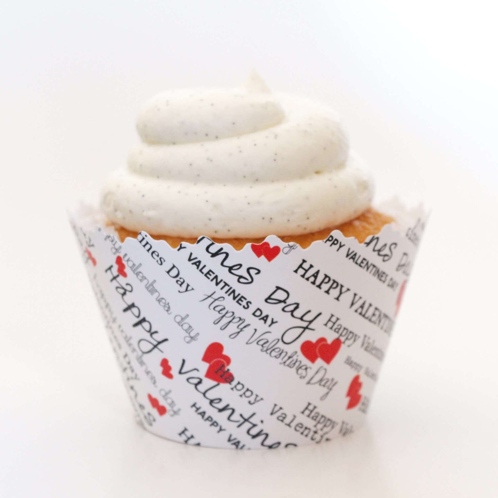 "Simply Wrappers - Happy Valentines Day ""I Love You Valentine"" February Red Hearts Cupcake Wrapper"