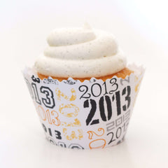 Simply Wrappers - 2014 ADJUSTABLE Celebration Black & Gold Cupcake Wrappers