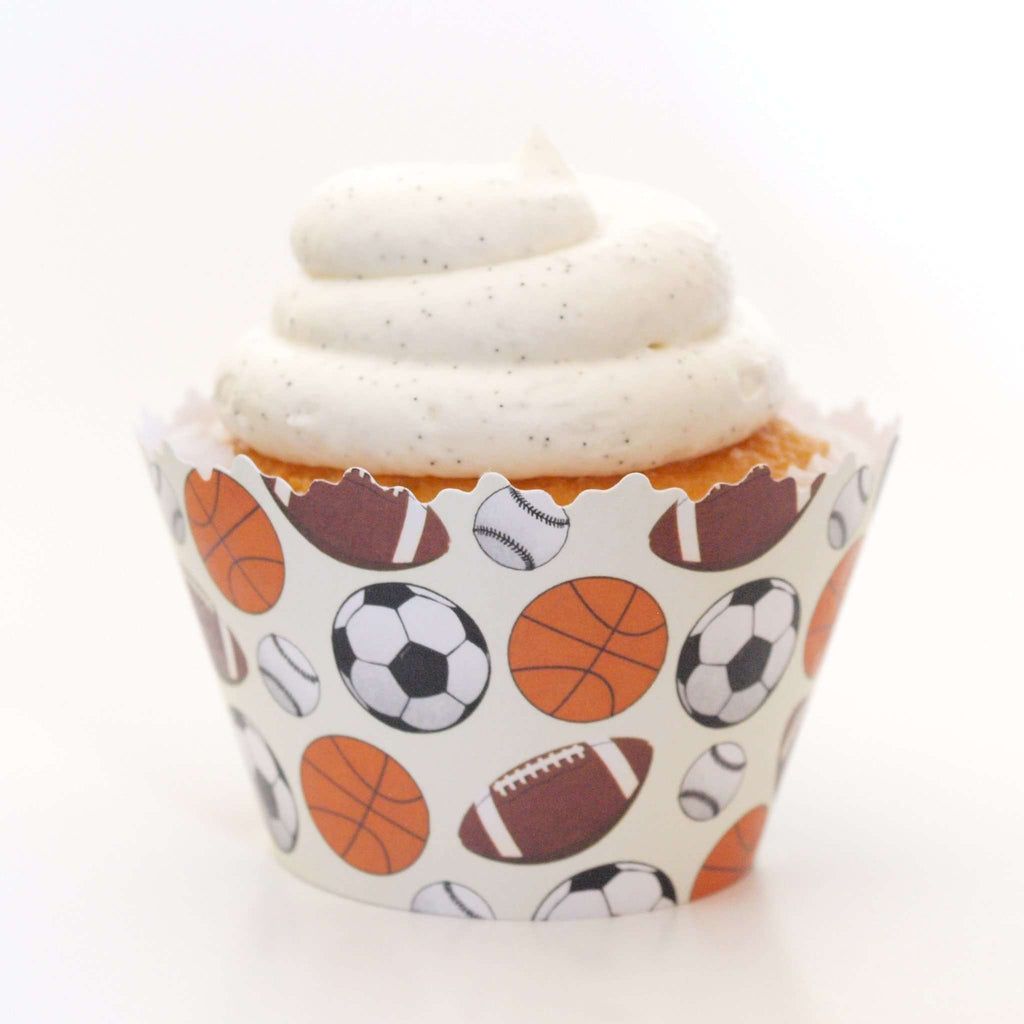 Simply Wrappers - Sports Medley - Basketball, Football, Soccer & Baseball Athlete Cupcake Wrapper
